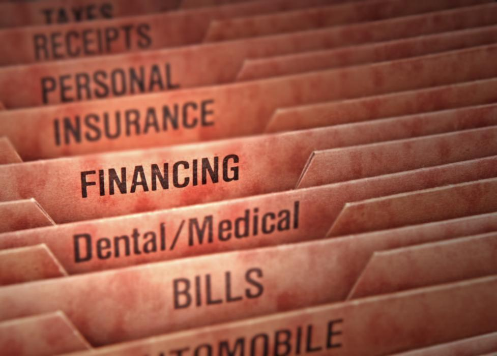 Dental insurance files at dentist office in Fredericksburg VA