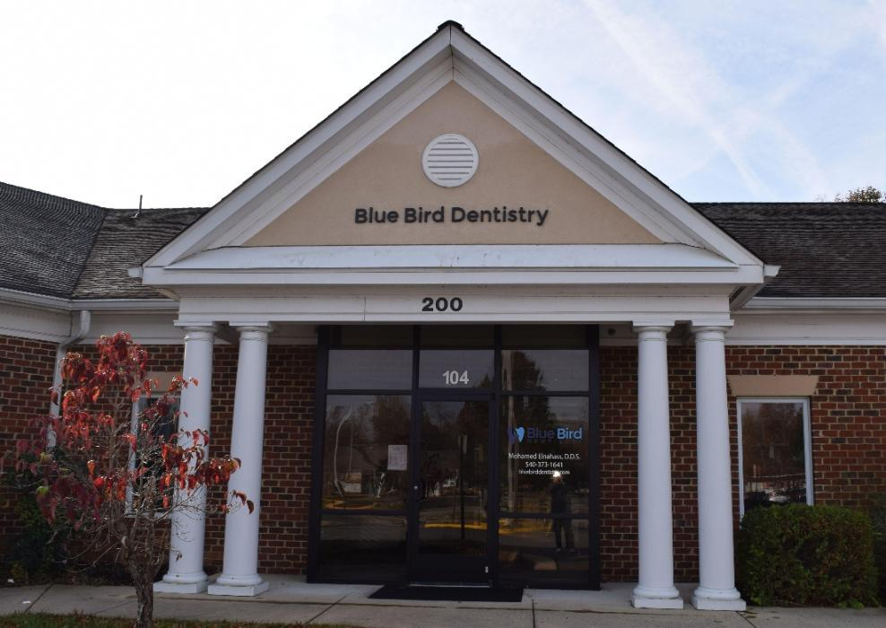 Building exterior of Blue Bird Dentistry in Fredericksburg VA